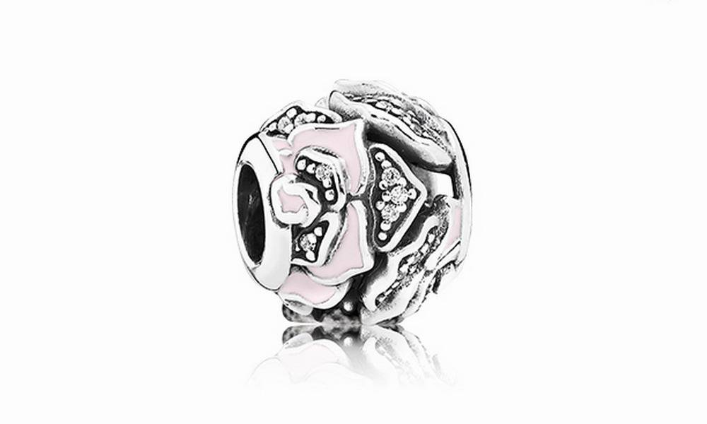 銀×粉紅色玫瑰花閃石串飾 $299(原價$599)