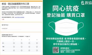 【教協】教協不定時抽籤買口罩 只限會員登記 每人限買一次(內附登記方法)| 武漢肺炎