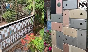 iPhone最強曬命行徑!越南土豪曬門前「iPhone柱」 拎過百部電話做外牆裝飾  網友笑問:怕唔怕被人偷?