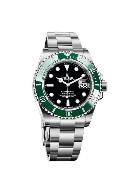 搭配黑色錶面及綠色錶圈的綠水鬼