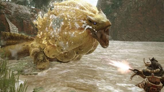 水獸可利用脖子處的海綿狀鱗片儲存大量水分以防止表皮乾燥,使其得以在陸地上活動,還會朝獵物的腳下吐出特殊的黏液,藉此捕捉獵物。