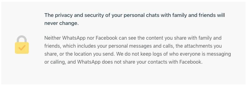 【Whatsapp】嚴正聲明不會分享用戶資料給予FB。