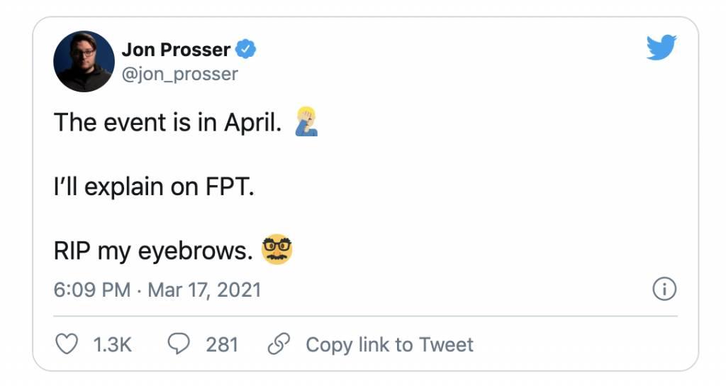 Jon並在Twitter上表示Apple的發布會將會延至4月