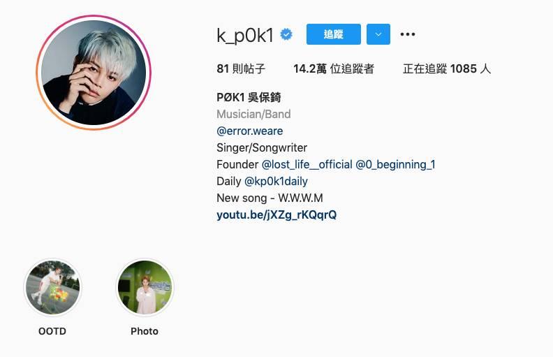 第4位吳保錡(k_p0k1)Instagram粉絲數142,876。(圖片來源:k_p0k1@IG)