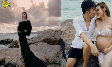 楊洛婷海邊影9個月巨肚孕照!慶祝相愛15年、同老公Tim濕身激吻留倩影