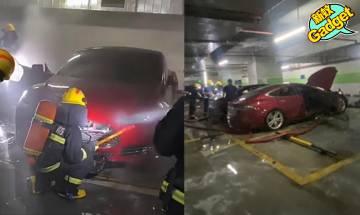 特斯拉|電動車停車場自焚殃及寶馬 Tesla員工到場意圖拖走車輛 官方就隱瞞一事作出回應