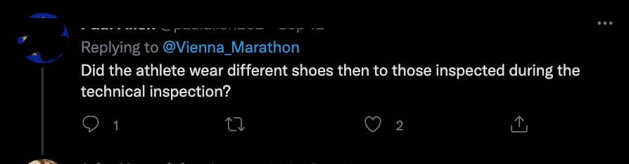 網民質疑為何大會於賽後才知道跑鞋不合格。(圖片來源:Vienna City Marathon@twitter)