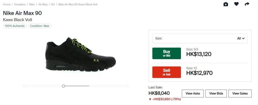 KAWS過往跟Nike聯乘的波鞋,如今已被炒上天價。(圖片來源:STOCKX)